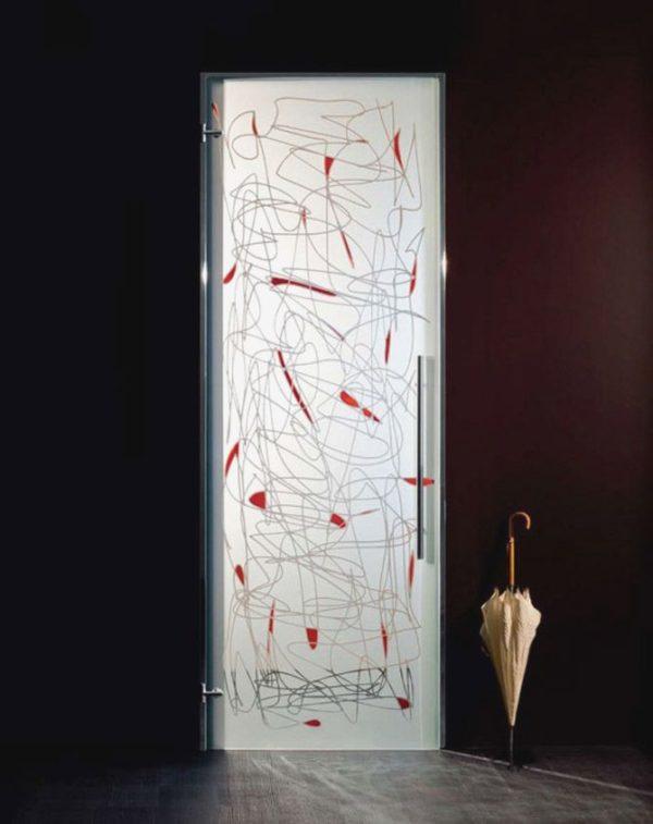 Матовая стеклянная дверь с фотопечатью