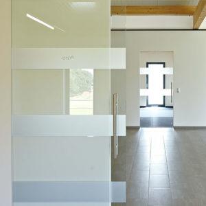 Стеклянная раздвижная дверь с горизонтальными полосами