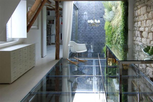 Прозрачный стеклянный пол для виллы